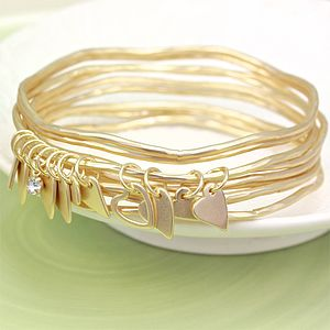 Set Of Matt Gold Heart Charm Bangles - women's jewellery