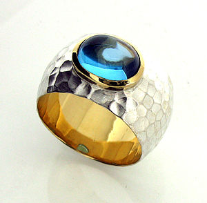 Blue Topaz Beaten Silver And Gold Ring - rings