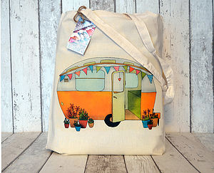 Caravan Illustration Cotton Tote Bag - womens