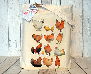 Farmyard Chickens Cotton Tote Bag