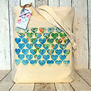 World Map Hearts Cotton Tote Bag