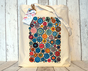 Buttons Illustration Cotton Tote Bag