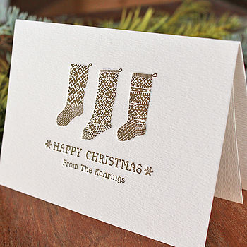 50 Personalised Letterpress Christmas Cards