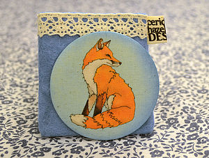 Fabric Fox Pocket Mirror - compact mirrors
