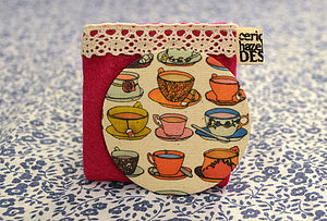 Fabric Teacups And Saucers Pocket Mirror - beauty accessories
