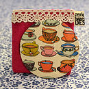 Fabric Teacups And Saucers Pocket Mirror