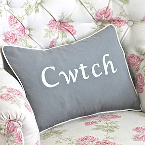 Handmade 'Cwtch' Cushion - embroidered & beaded cushions