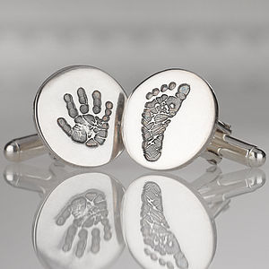 Personalised Hand And Foot Print Cufflinks - first father's day