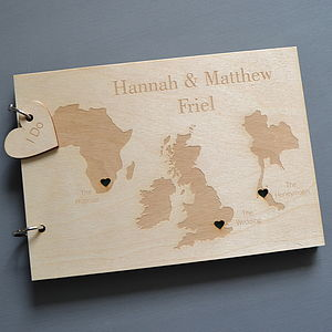Personalised Trio Destination Map Guest Book