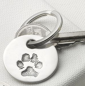 Your Pet's Paw Print Key Ring - metal keyrings