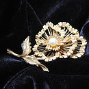 Vintage Gold Flower And Pearl Brooch