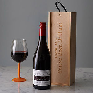 Personlised Thank You Wine Box - personalised