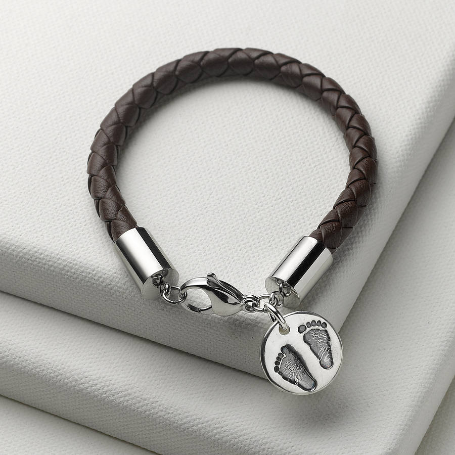 Men S Personalised Charm Leather Bracelet