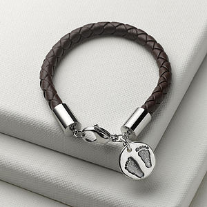 Men's Personalised Charm Leather Bracelet - men's jewellery