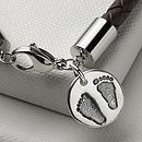 Men's Personalised Charm Leather Bracelet
