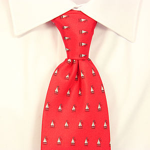 Mens Sailing Boat Handmade Silk Tie - men's accessories