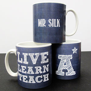 Personalised 'Charcoal Teachers Mug' - vibrant blues