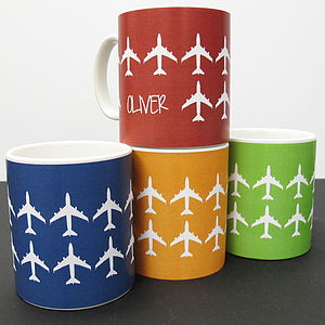 Personalised 'Plane' Mug In 40 Colours