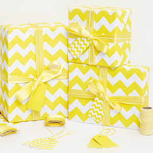 Recycled Yellow Chevron White Wrapping Paper - ribbon & wrap