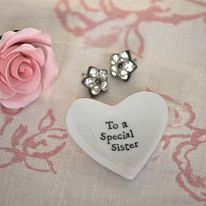 'Special Sister' Tiny Porcelain Heart Dish - decorative accessories