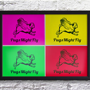 Flying Pug Poster Board