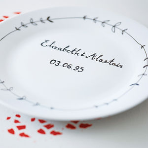 Personalised Hand Illustrated Wedding Plate - wedding gifts