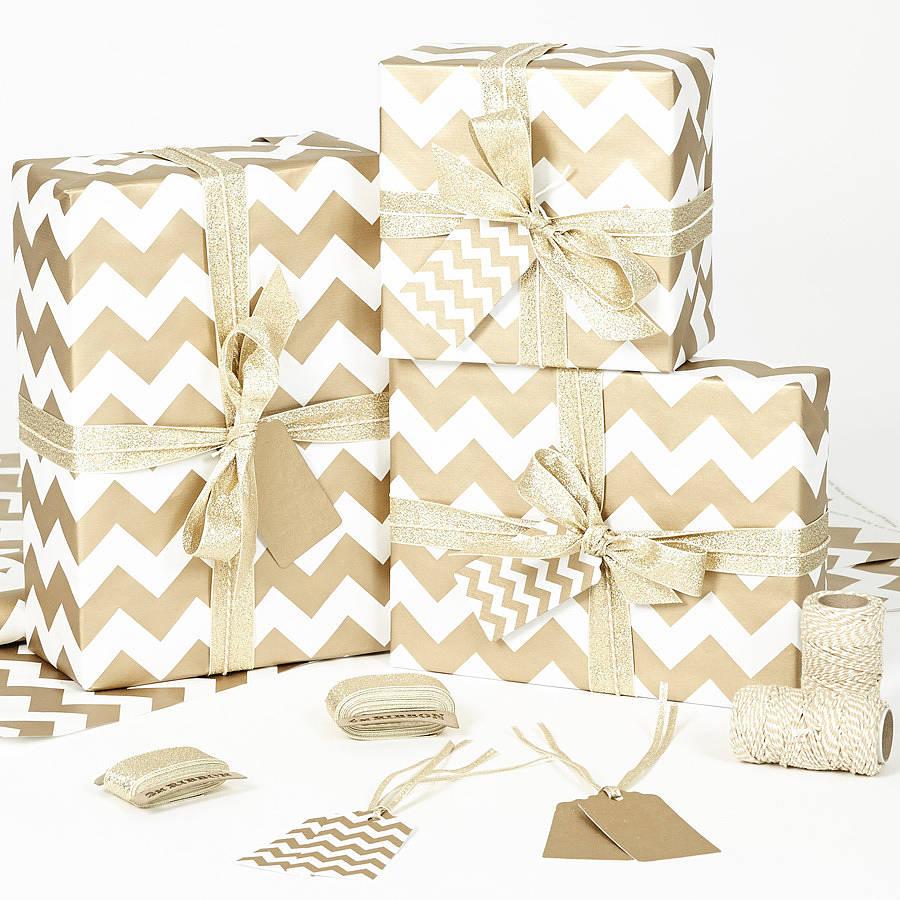 gold chevron white christmas wrapping paper by sophia victoria joy ...