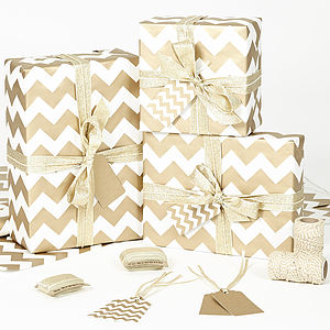 Gold Chevron White Christmas Wrapping Paper - ribbon & wrap