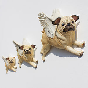 Hand Painted Flying Pug Wall Art