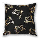 Metallic Gold Flying Multi Pug Cushion Cover