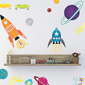 Coloured Spaceships Wall Sticker Set