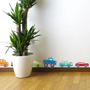 Coloured Cars Wall Sticker Set