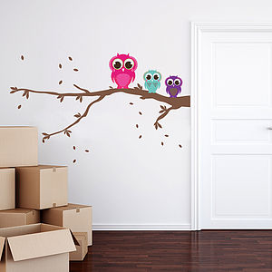 Patterned Owls On A Branch Wall Sticker Set - wall stickers