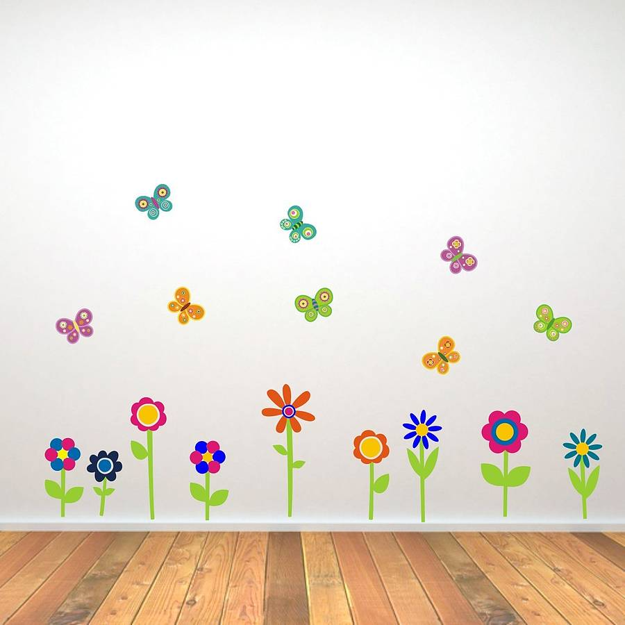 Flowers And Butterflies Wall Stickers By Mirrorin