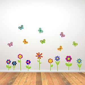 Flowers And Butterflies Wall Stickers - office & study