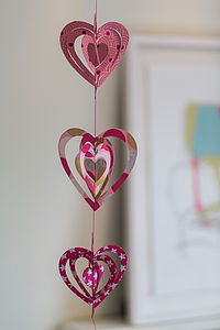 Cut Out Pink Metallic Paper Heart Garland - outdoor decorations
