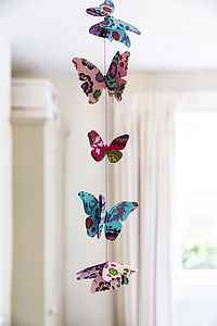 Cut Out Pink Paper Butterfly Garland - room decorations