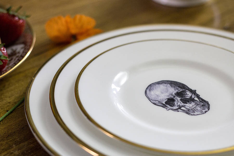 Melody Rose Skull Bone China Plate