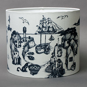 Maritime Range 30cm Cornish Toile Lampshade - furnishings & fittings