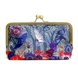 Sky Ink Silk Clutch Bag