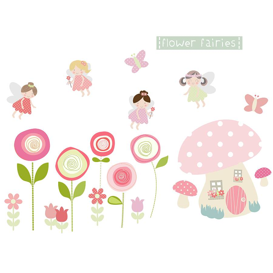 flower fairies fabric wall stickers by littleprints