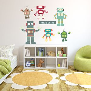 Robots Fabric Wall Stickers - bedroom