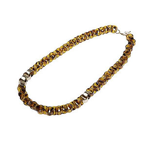 Long Interlinked Necklace   Animal Print