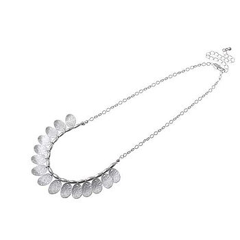 Metal Bead And Disc Necklace   Silver