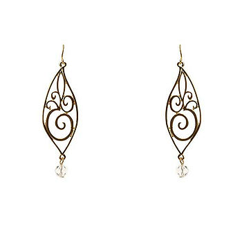 Teardrop leaf and crystal bead earring - gold