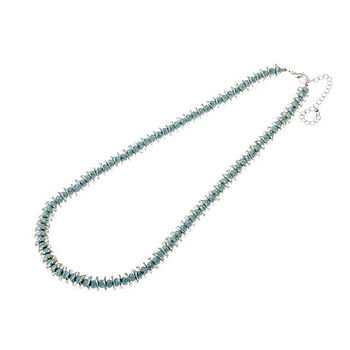 Turquoise Bead And Silver Disc Necklace