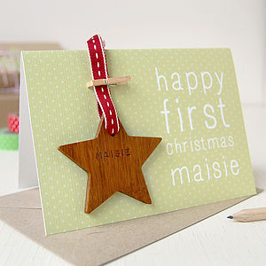 Personalised First Christmas Keepsake Card - cards & wrap