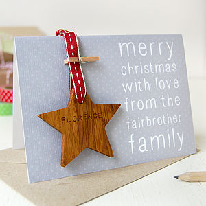 Personalised Christmas Star Token Card - tree decorations