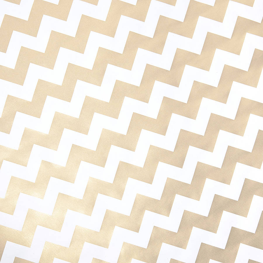 Gold Chevron White Christmas Wrapping Paper By Sophia