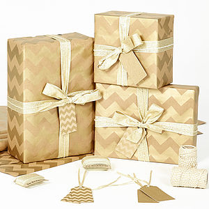 Gold Chevron Brown Christmas Wrapping Paper - ribbon & wrap